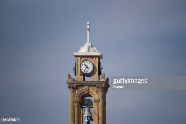 2017 - Europe, Greece, Cyprus, Troodos, Gerakies Village, View Of Church Bell Tower Clock Tower - Agios Georgios Greek Orthodox Church