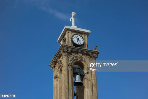 2017 - Europe, Greece, Cyprus, Troodos, Gerakies Village, View Of Church Cross Bell Tower Clock Tower - Agios Georgios Greek Orthodox Church