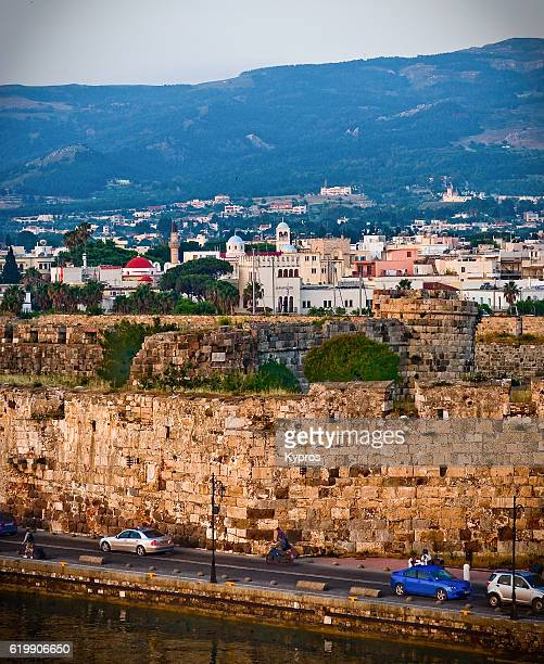Europe, Greece, Kos Island, View Of Architecture And Buildings With Castle