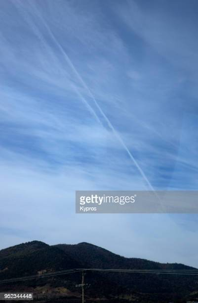 Europe, Greece, Northern Area Between Thessaloniki And Turkish Border, 2017: View Of Chemtrails Or Skytrails (Depending On Your Point Of View And Knowledge)