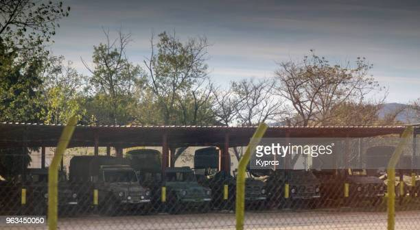 europe, greece, northern area between thessaloniki and turkish border, 2017: view of greek army trucks parked near turkish border - barracks stock pictures, royalty-free photos & images