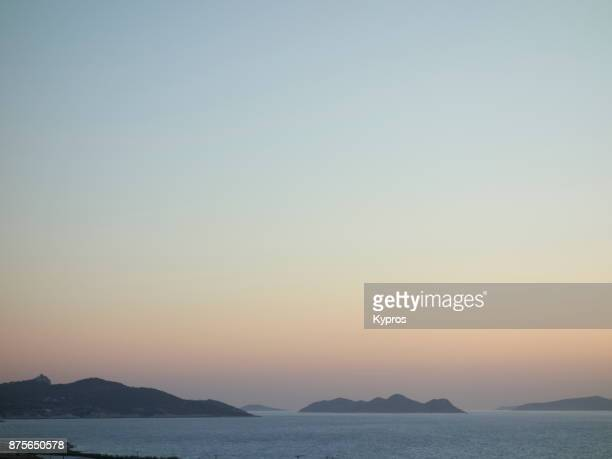 europe, greece, rhodes island, 2017: view of aegean sea seascape. the aegean sits within the greek islands of crete and rhodes and extends northwards to turkey. the southern part joins the mediterranean sea. - aegean sea stock pictures, royalty-free photos & images