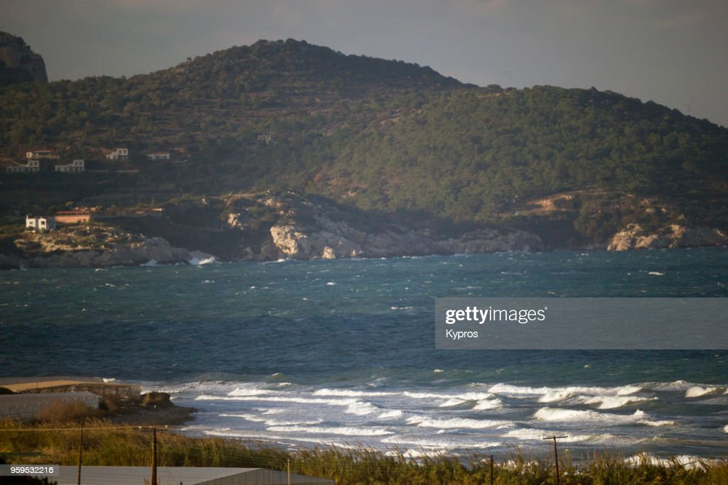 Europe, Greece, Rhodes Island, 2017: View Of Coastline With Hills And Rough Sea : Stock-Foto