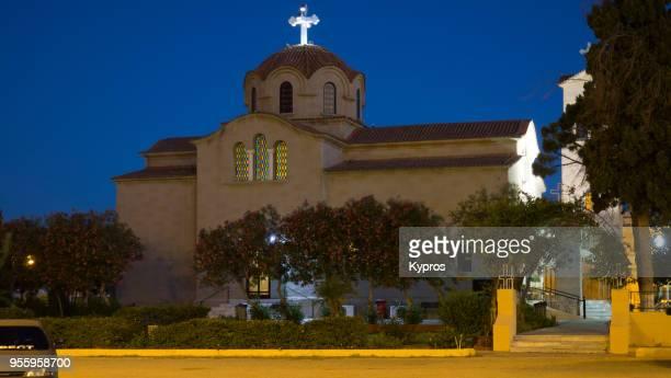 europe, greece, rhodes island, 2017: view of faliraki greek orthodox church at night - greek orthodoxy stock pictures, royalty-free photos & images