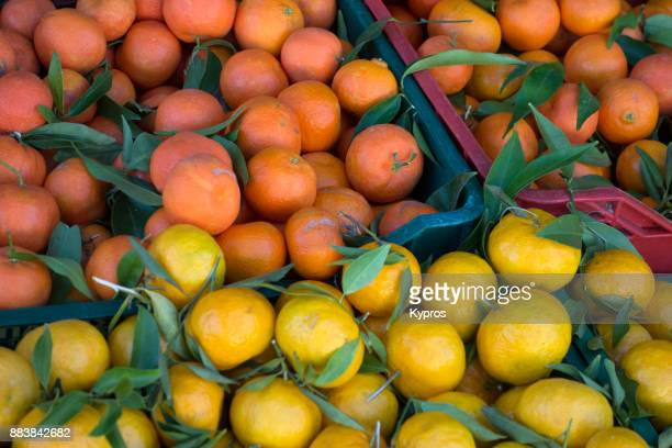 Europe, Greece, Rhodes Island, 2017: View Of    Fresh Oranges For Sale