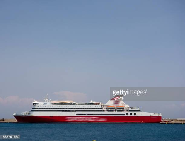 europe, greece, rhodes island, 2017: view of greek ferry boat near port of rodos - ferry photos et images de collection