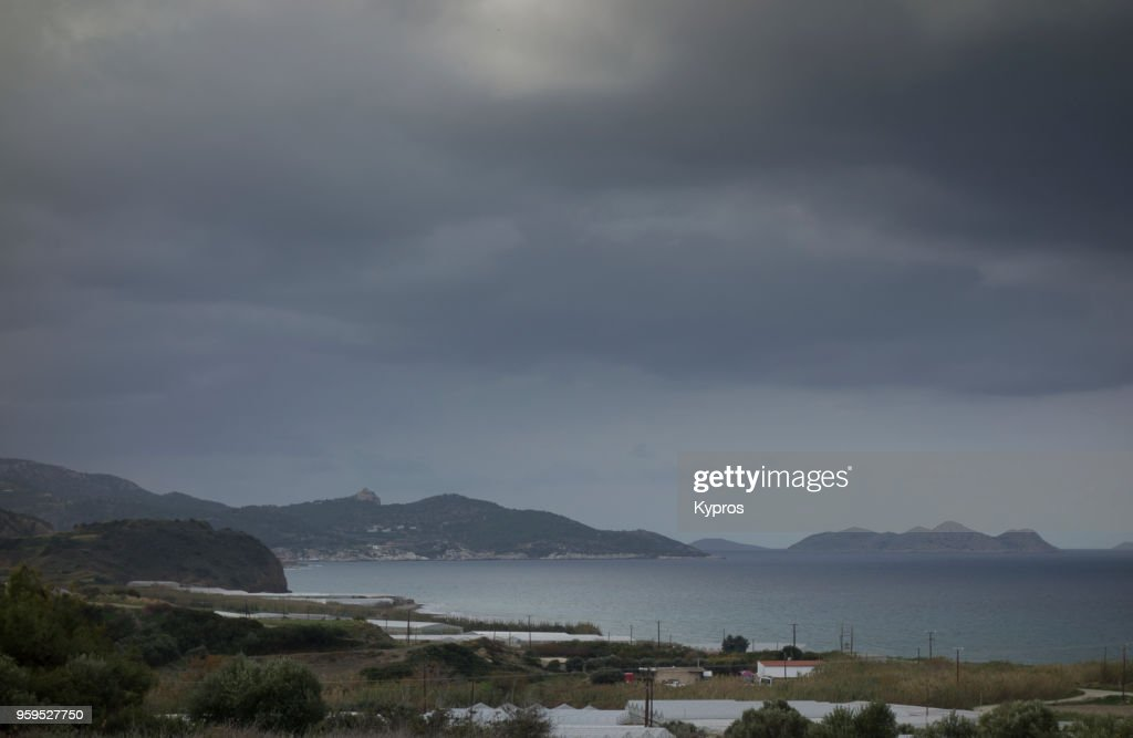 Europe, Greece, Rhodes Island, 2017: View Of Greek Islands  On Stormy Day : Stock Photo