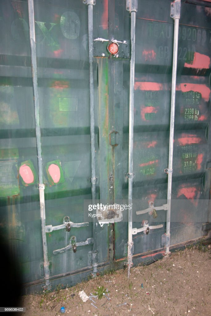 Europe, Greece, Rhodes Island, 2017: View Of Padlocked Steel Shipping Container : Stock-Foto