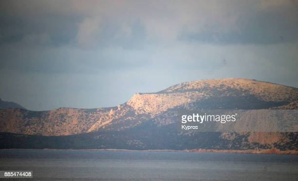 europe, greece, rhodes island, 2017: view of seascape (or landscape) over aegean sea showing greek islands - rhodes dodecanese islands stock photos and pictures