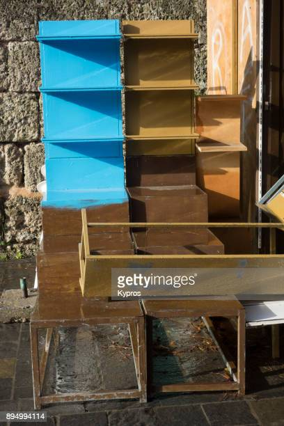 Europe, Greece, Rhodes Island, 2017: View Of Shop Or Retail Store Remnants In Winter Waiting To Be Re-Used During The Tourist Season