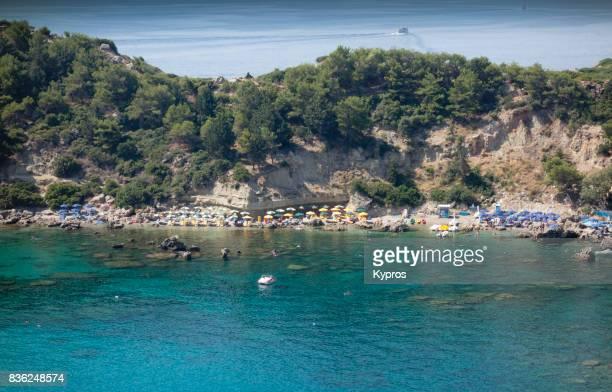 Europe, Greece, Rhodes Island, View Of Anthony Quinn Beach