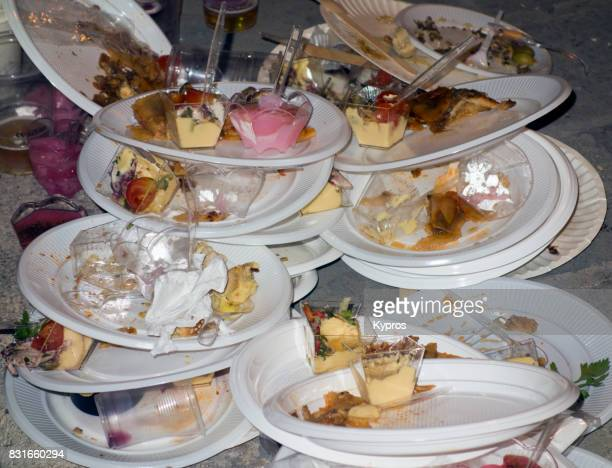 europe, greece, rhodes island, view of piles of discarded plastic throw away plates after street party - clean up after party stock pictures, royalty-free photos & images