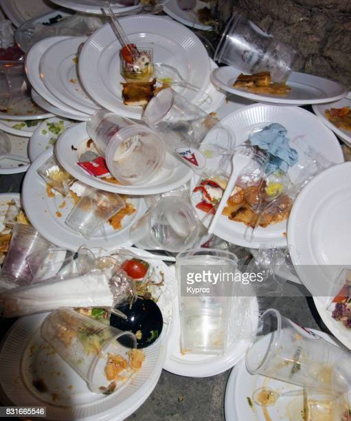 europe, greece, rhodes island, view of piles of discarded plastic throw away plates after street party - cleaning after party stock pictures, royalty-free photos & images