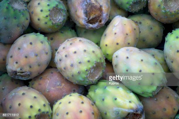 Europe, Greece, Rhodes Island, View Of Prickly Pear Cactus (Opuntia) Plant Sold At Outdoor Food Market