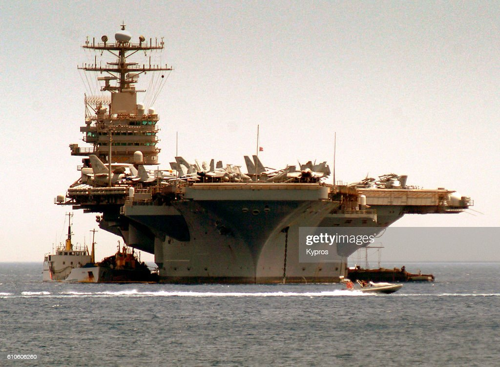 Europe, Greece, View Of American Aircraft Carrier : Stock Photo
