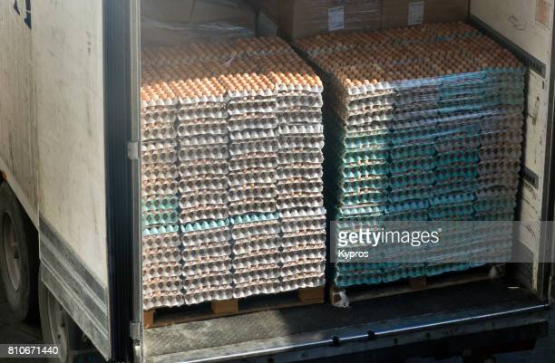 Europe, Greece, View Of Bulk Chicken Egg Delivery To Supermarket