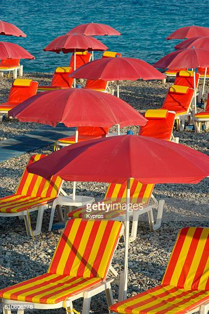 Europe, Greece, View Of Chairs And Umbrellas On Empty Beach