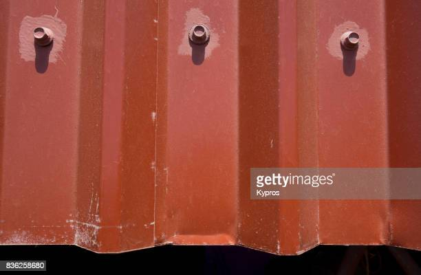 Europe, Greece, View Of Galvanized Sheet Metal Roofing