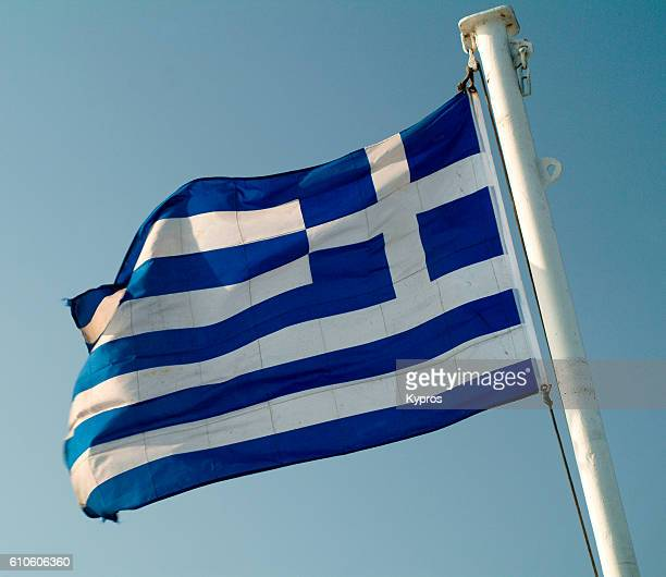 Europe, Greece, View Of Greek Flag