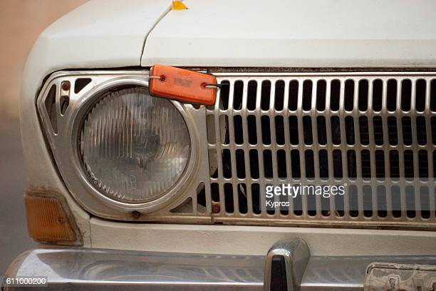 Europe, Greece, View Of Grill Of Old-Timer Car Built In The Past