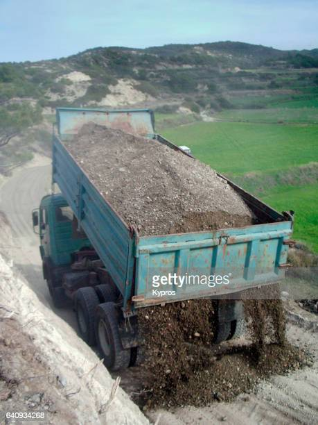 Europe, Greece, View Of Tipper Truck Building New Road