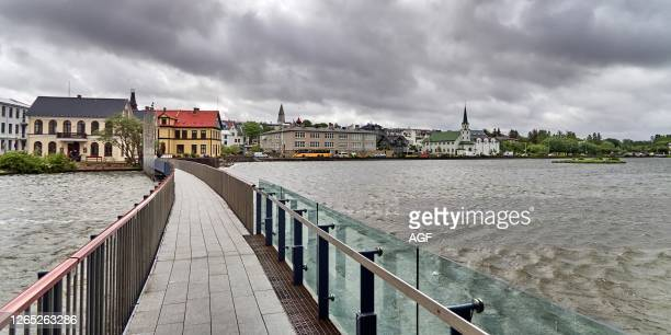 Europe. Iceland. Reykjavik city. The gateway to the town hall on the Tjörnin lake.