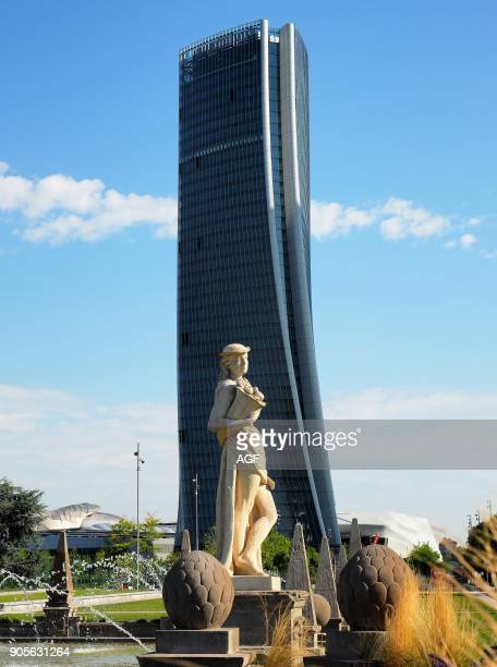 Europe Italy Lombardy Milan City Life District Giulio Cesare Square Four Season Fountain Torre Hadid designed By Zaha Hadid