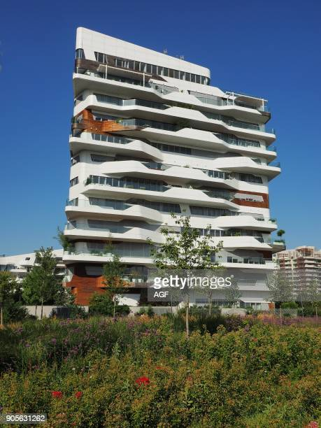 Europe Italy Lombardy Milan Citylife district residencies building desgned by Zaha Hadid