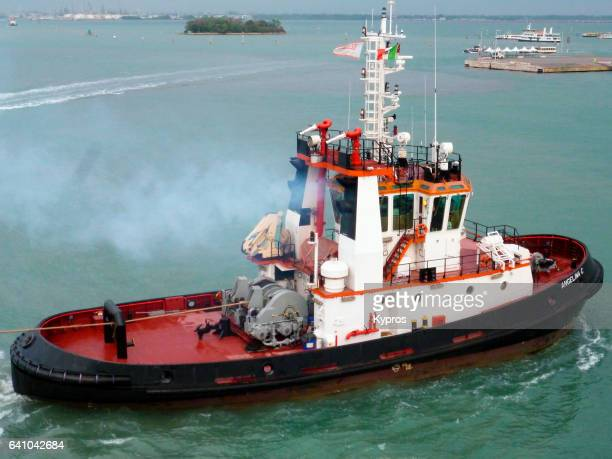 europe, italy, venice, view of tug boat - tugboat stock photos and pictures