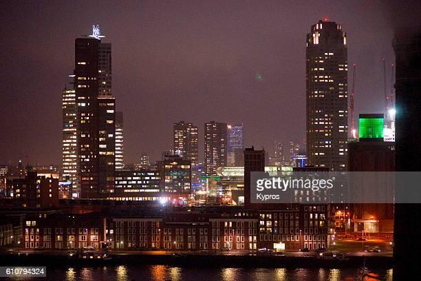 Europe, Netherlands, Rotterdam, Cityscape At Night