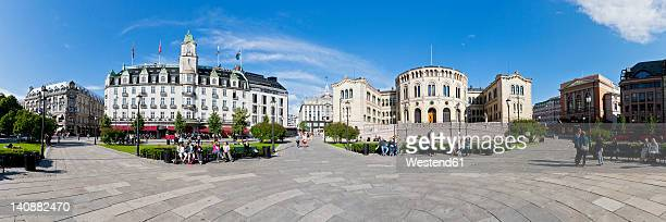 Europe, Norway, Oslo, Grand hotel and parliament building at Karl Johans Gate