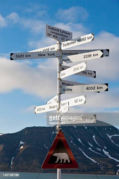 Europe, Norway, Spitsbergen, Svalbard, Longyearbyen, Directional sign with caution polar bear sign