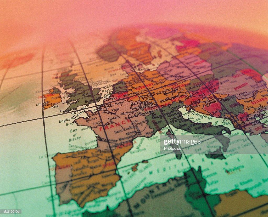 Europe on portion of globe : Stock Photo