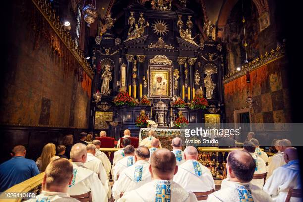 europe, poland, malopolska, czestochowa, monastery of jasna gora, during the marian feast of assumption, black madonna painting of the virgin mary and the christ child - religious role stock photos and pictures