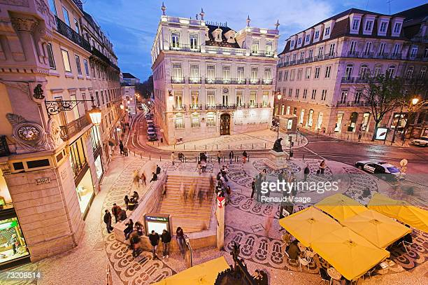 Europe, Portugal, Lisbon, Rua Garrett at night, elevated view