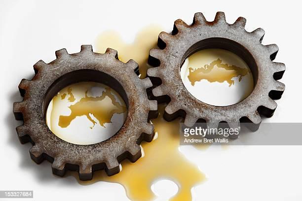 Europe & Russia formed in oil between 2 gear cogs