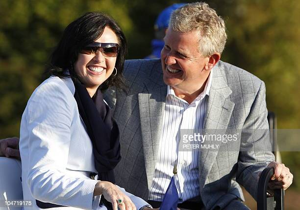 Europe Ryder Cup captain Colin Mongomerie sits on a golf buggy with his wife Gaynor Montgomerie after the closing ceremony after Europe beat the US...