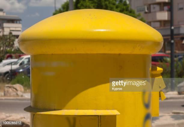 Europe, Spain, Balearic Isles, Ibiza Island, 2018: View Of Yellow Letterbox