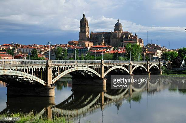 europe, spain, castile and leon, salamanca, view of cathedral in city and bridge across rio tormes - サラマンカ ストックフォトと画像