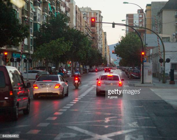 Europe, Spain, Malaga, View Of Road On Rainy Day