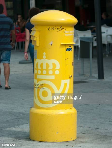 Europe, Spain, Malaga, View Of Yellow Postbox