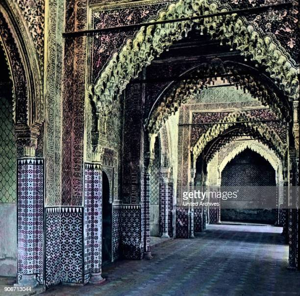 Europe Spain travel Andalusia Granada Alhambra Hall of Justice Moorish architecture 10th century image date 1910s 1920s Carl Simon Archive history...