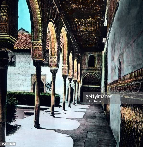 Europe Spain travel Andalusia Granada Alhambra Moorish Palace architecture 10th century image date 1910s 1920s Carl Simon Archive history historical...