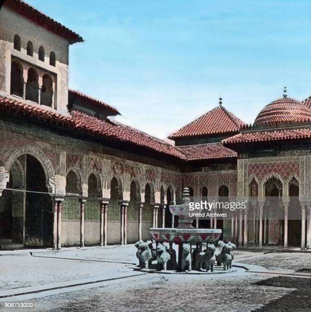 Europe Spain travel Andalusia Granada Alhambra Moorish Palace Court of the Lions Patio de los Leones courtyard architecture10th century image date...