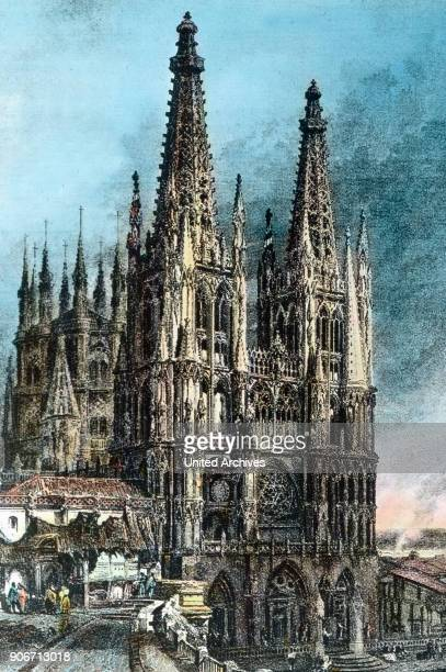 Europe Spain travel Castile Burgos Catedral de Burgos Burgos Cathedral image date 1910s 1920s Carl Simon Archive history historical church cathedral...