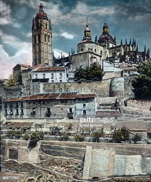 Europe Spain travel Castile Segovia Cathedral of Segovia Catedral de Segovia late Gothic architecture 16th century image date 1910s 1920s Carl Simon...