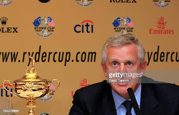 Europe team captain Colin Montgomerie talks to the media after the USA team arrives at Cardiff Airport prior to the start of the 2010 Ryder Cup on...