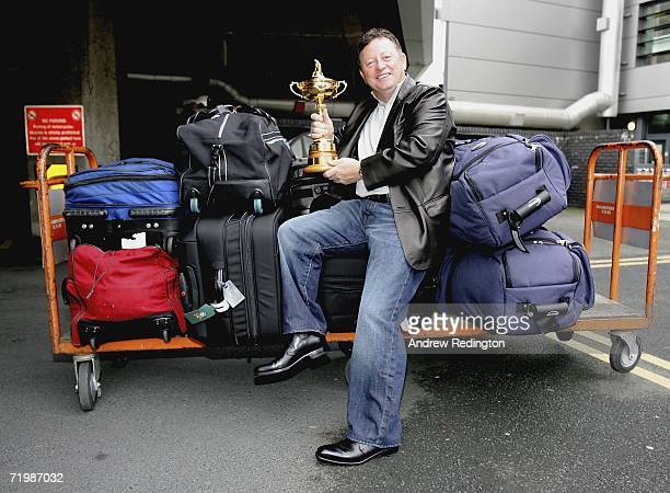 Europe Team Captain Ian Woosnam of Wales poses with the Ryder Cup trophy as some of the victorious European Ryder Cup team gather at Dublin airport...