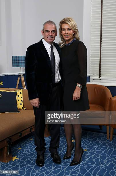 Europe team captain Paul McGinley and his wife Allison McGinley pose for a photograph at the Gleneagles Hotel before leaving for the Ryder Cup Team...