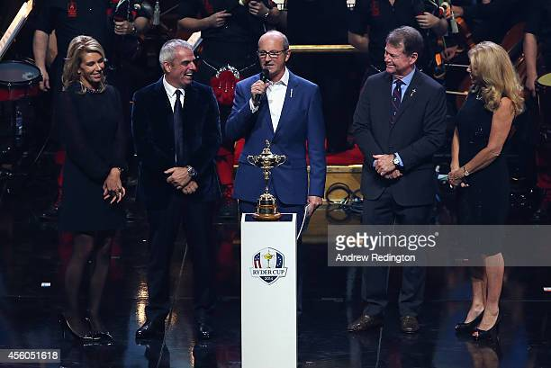 Europe team captain Paul McGinley and wife Allison pose with United States team captain Tom Watson and wife Hilary with Fred MacAulay during the 2014...